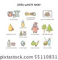 Zero waste baby elements vector doodle illustration 55110831
