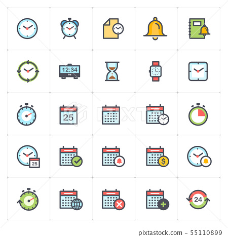 Icon set - time and schedule full color 55110899