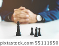 businessman with chess office, strategy and 55111950