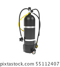 Scuba diving air tank with regulator set. 3d rendering illustration 55112407