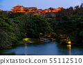 Okinawa Shuri Castle night view Ryuho Pond Koshi Light up 55112510