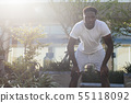 Portrait of African American man taking a rest during jogging 55118092