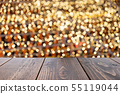 Empty wooden table of brown on front blurred color 55119044