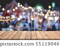 Empty wooden table of brown on front blurred color 55119046