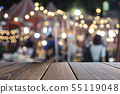 Empty wooden table of brown on front blurred color 55119048
