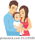Happy young parents kissing and hugging baby boy 55119580