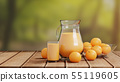 Orange Juice with Glass and Pitcher on Wooden 55119605