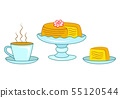 Birthday cake and coffee or tea isolated on white. 55120544
