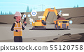 woman in helmet using walkie talkie controlling excavator loading soil on dump truck professional 55120758