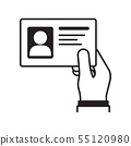 Hand holding the id card. Vector illustration 55120980