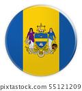 Philadelphia Flag Badge, 3d illustration on white background 55121209