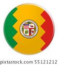 Los Angeles Flag Badge, 3d illustration on white background 55121212