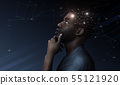 Thoughtful african man with illustration of brain activity process 55121920