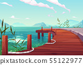 Wooden pier with ropes on river natural landscape 55122977