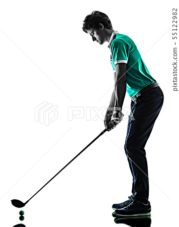 Man Golf golfer golfing isolated shadow silhouette white background 55122982