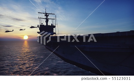 Military helicopters Blackhawk take off from an aircraft carrier at sunrise in the endless sea. 3D 55123031