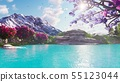 Sakura blooming in spring against the backdrop of mountains and lakes. Travel and adventure, amazing 55123044