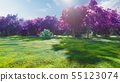 Forest crowns of fairy trees with bright sunlight, flying dandelions and butterflies. Magic forest 55123074