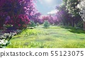 Forest crowns of fairy trees with bright sunlight, flying dandelions and butterflies. Magic forest 55123075