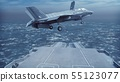 F-35 fighter takes off vertically from the aircraft carrier. 3D Rendering 55123077
