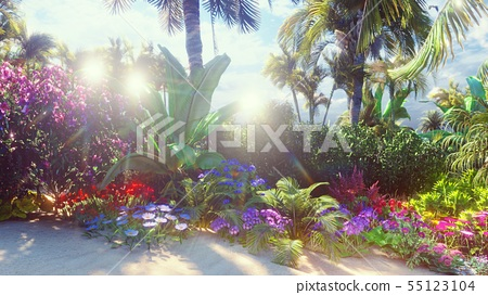 A beautiful landscape with a fabulous beach with beautiful flowers and trees growing on it, blue sky 55123104