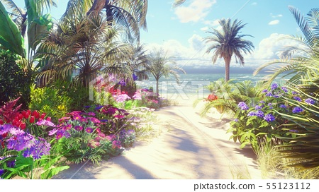 A beautiful landscape with a fabulous beach with beautiful flowers and trees growing on it, blue sky 55123112