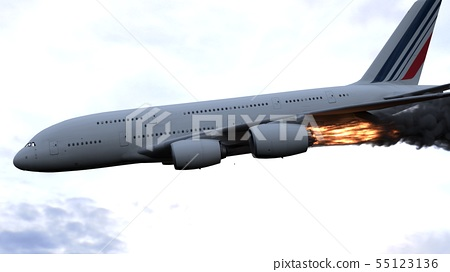 The engine of the aircraft caught fire and burns with the release of black smoke. 3D Rendering 55123136