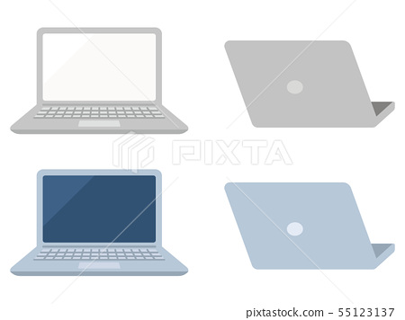 Open laptop computer front and back 55123137
