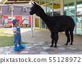 Asian cute baby girl feeding carrot for big black 55128972