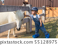 Asian cute baby girl hand touch to dwarf horse. 55128975