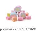 marshmallows isolated on white background. 55129691