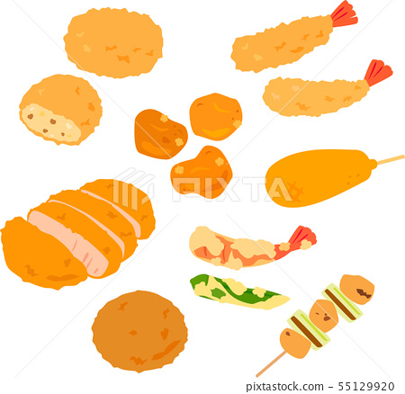 Illustration set of fried food, side dish 55129920
