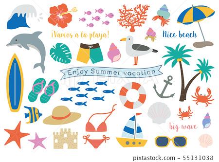 暑假夏天海灘海例證集合 55131038
