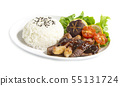 Grill Beef barbecue sauce with rice fusion food 55131724