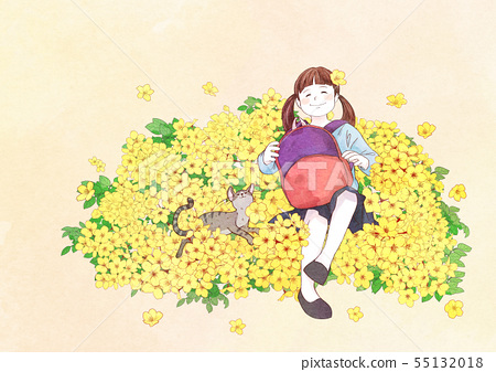 illustration of a little girl who dreams with blossoms background 007 55132018