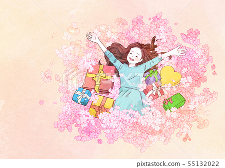 illustration of a little girl who dreams with blossoms background 005 55132022