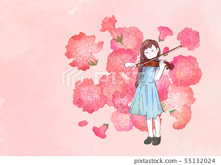 illustration of a little girl who dreams with blossoms background 003 55132024