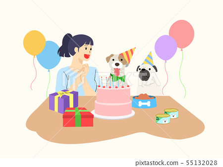 illustration of happy life with dog 010 55132028