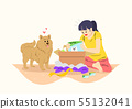 illustration of happy life with dog 005 55132041