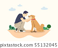 illustration of happy life with dog 004 55132045