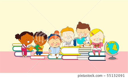illustration of a group of happy children of different nationalities 007 55132091