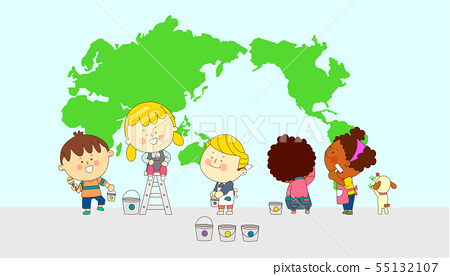 illustration of a group of happy children of different nationalities 010 55132107