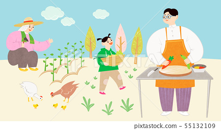 Ecology concept, Green eco city and life with family illustration 003 55132109