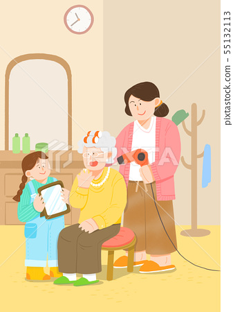 illustration of happy family having good time together 014 55132113