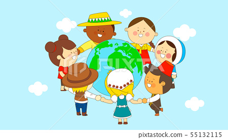 illustration of a group of happy children of different nationalities 011 55132115