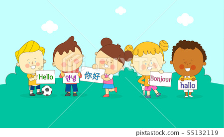 illustration of a group of happy children of different nationalities 002 55132119