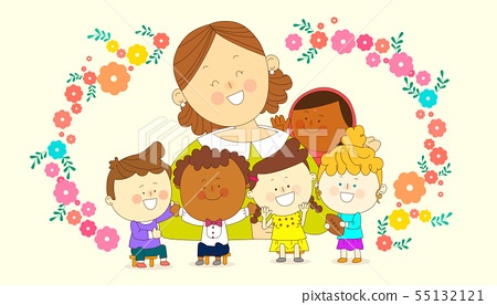 illustration of a group of happy children of different nationalities 004 55132121
