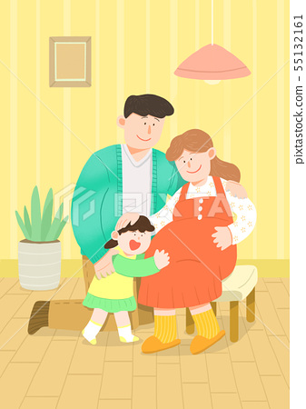 illustration of happy family having good time together 015 55132161