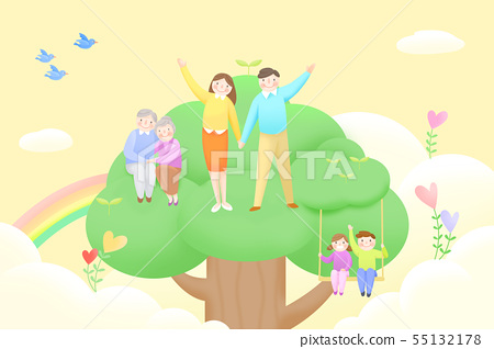 Harmony family, illustration of loving families 012 55132178