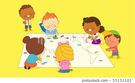 illustration of a group of happy children of different nationalities 003 55132181